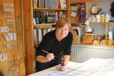 Liz Mathews at work in the studio (photo by Frances Bingham)