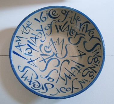 Voice of the river (stoneware bowl) text by Frances Bingham