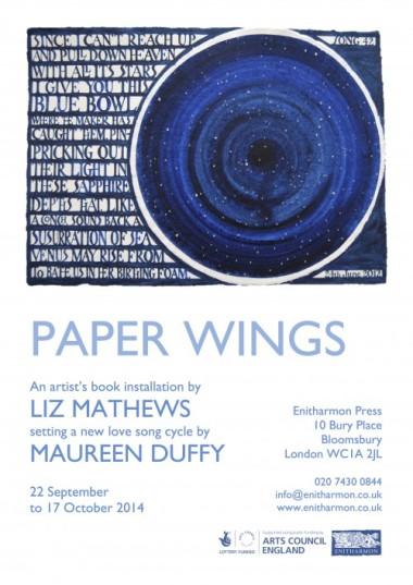 Poster for Paper Wings at Enitharmon Press