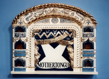 MOTHERTONGUE Chorus line (stoneware low relief made by Liz Mathews)