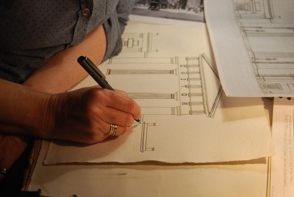 Liz Mathews drawing Euston Arch