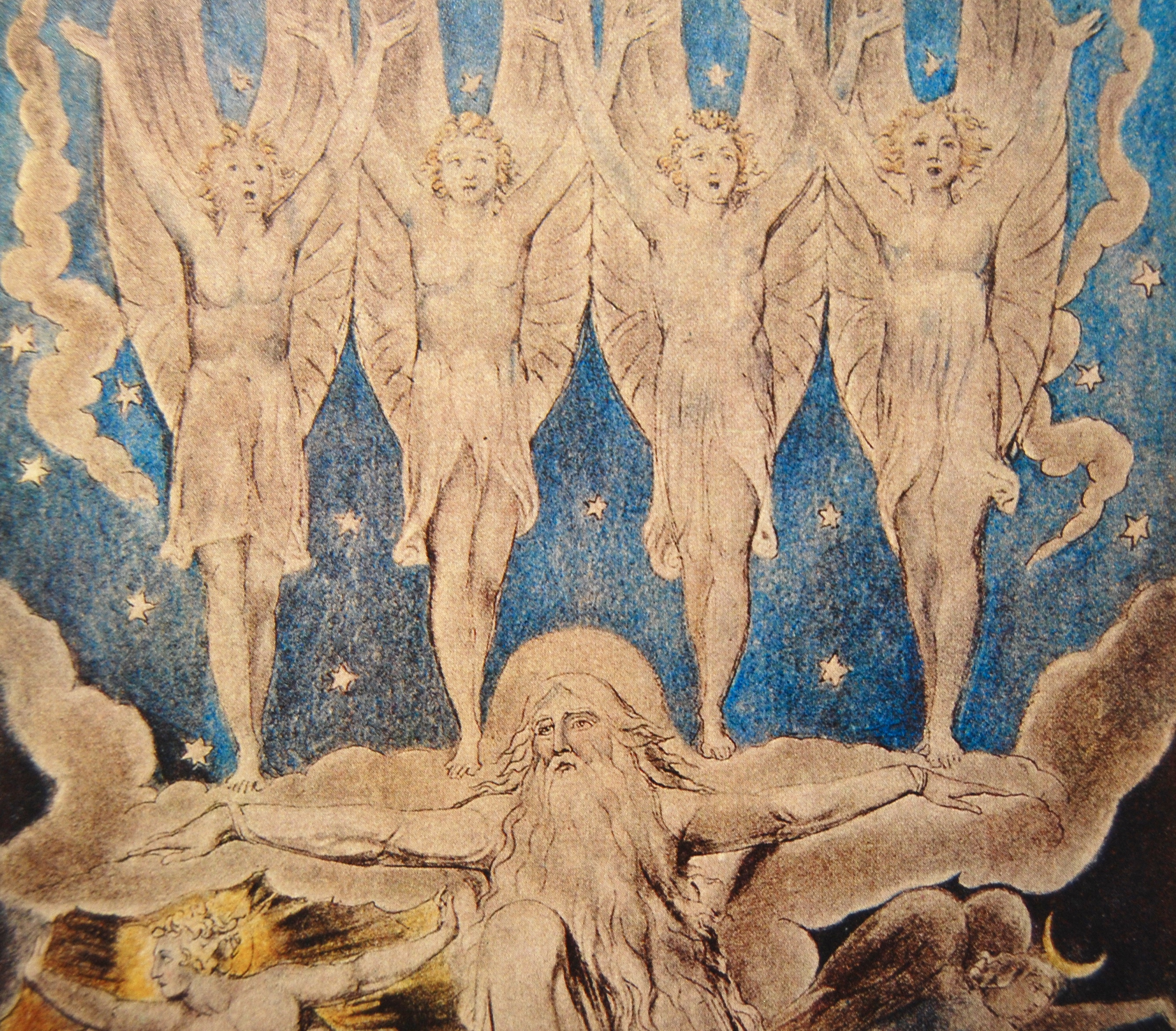 detail from The Morning Stars Sang Together, watercolour by William Blake c.1821, from Kathleen Raine's Blake biography (Thames and Hudson)