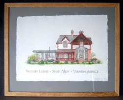 38. South View drawing framed