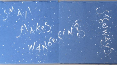 page from Snow like thought, artist's book by Liz Mathews setting a poem by Jeremy Hooker